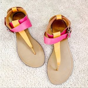 """BAKERS """"Aston"""" Pink and Coral Wrap Flat Sandal"""